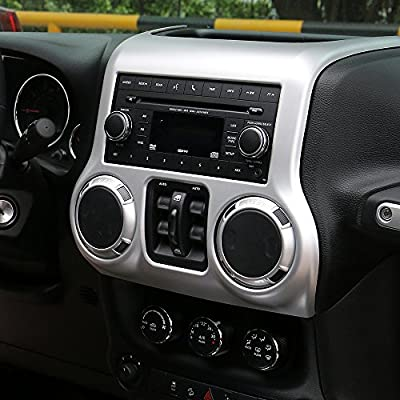 RT-TCZ Inner Accessories Center Console Dashboard Control Panel Cover Trim For Jeep Wrangler JK & Unlimited 2011-2020(SILIVER): Automotive