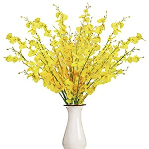 BUSSLANDY Faux Orchid Flowers Artificial Dancing Lady Orchids 10 Pcs Silk Fake Flower Real Touch for Wedding Home Party Decor Butterfly Flower Arrangement (Yellow)
