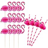 Hanjoy 50 PCS 3D Pink Flamingo Cupcake Toppers with Straws Party Supplies Cocktail Picks Cake Decoration for Hawaii Birthday Wedding Beach Party