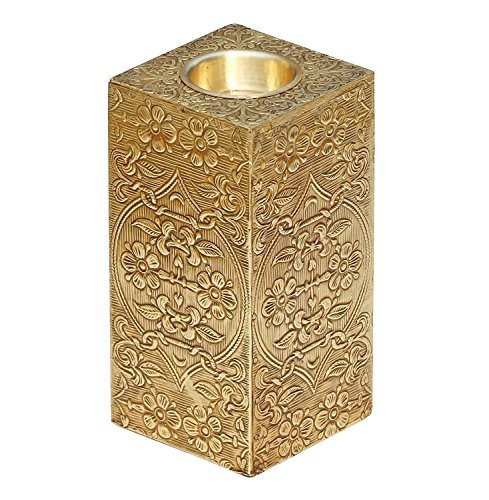 PRIME DEALS WEEK – Pillar Candle Holder – Golden Metal and Wood Centerpiece – SouvNear 6 Ornate Candle Votive Holder – Handmade Tea Light Holders