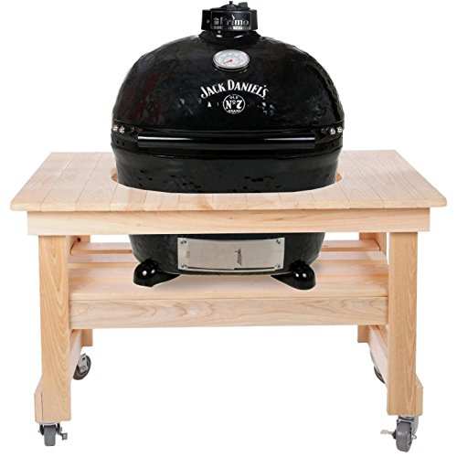 Primo Oval XL 400 Ceramic Smoker Grill On Compact Cypress Table, Jack Daniel's Edition by Primo