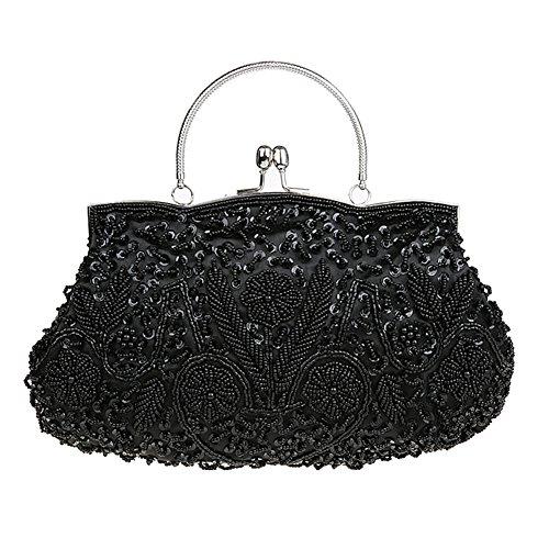 Albabara Satin Beaded Handmade Clutch Purse Evening (Frame Black Handbags)