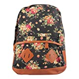 Willtoo(TM) Women Cute Flower Canvas Rucksack Backpack School Book Shoulder Bag (Black)