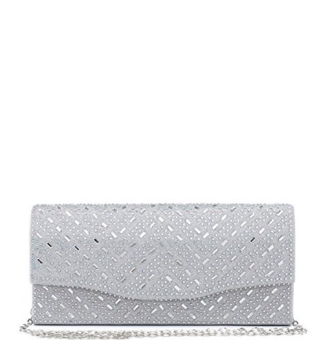 Shimmer Dressy Diamante Clutch Evening Party Silver Ladies Prom Occasion Bags Hand Womens M35 YwETn