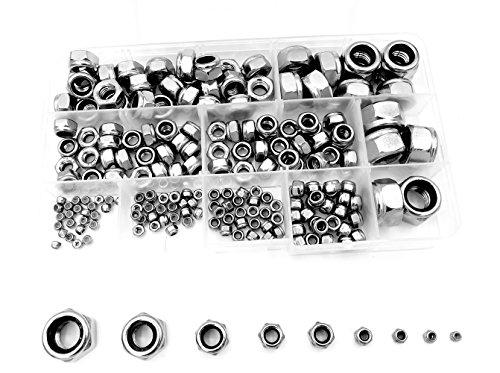 M2 M2.5 M3 M4 M5 M6 M8 M10 M12 304 Stainless Steel,Nylon Lock Nut,Locking Nuts Assortment Kit 190Pcs by WLine