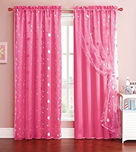 Pink Window Curtain Panel With Circle Design Sheer Top Layer 55in X 90in 1