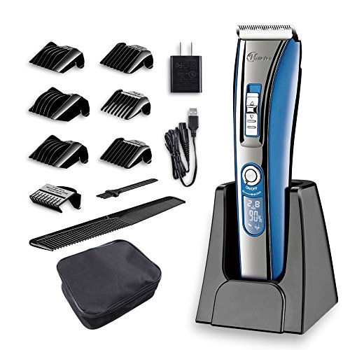 HATTEKER Hair Clipper Electric Trimmer for Men, 6 Hairdressing guide combs, Cordless Hair Clippers with LED Display Rechargable Hair Cutting Machine for Adult,Men and Kids by HATTEKER