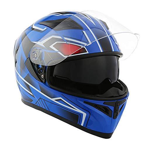1STorm Motorcycle Street Bike Dual Visor/Sun Visor Full Face Helmet Panther Blue, Size Large (57-58 CM,22.4/22.8 Inch)