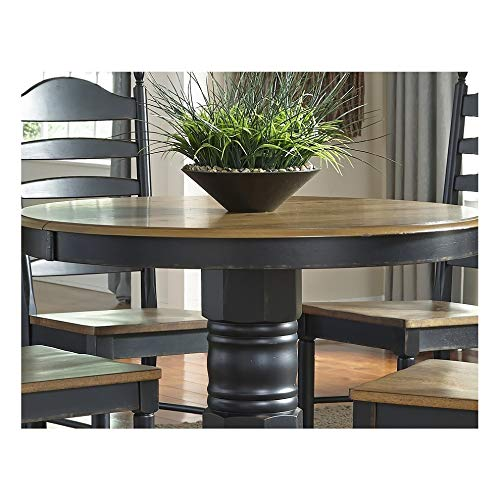 Springfield II Honey and Black Oval Pedestal Dinette Table Pedestal Table Antique Victorian Mahogany Carved Stand Top Oak Marble Svitlife ()