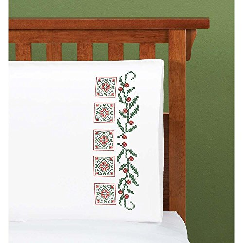 christmas solitaire pillowcase pair stamped