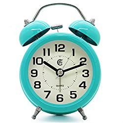 JCC 3 Retro Twin Bell Silent Non Ticking Sweep Second Hand Bedside Desk Analog Quartz Movement Alarm Clock with Nightlight and Loud Alarm, Battery Operated (Turquoise)
