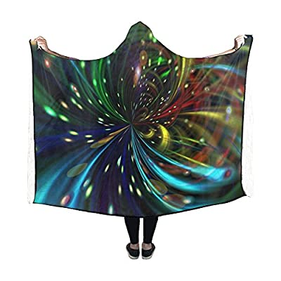 WUTMVING Hooded Blanket Lines Fireworks Star Abstract Light Blanket 60x50 Inch Comfotable Hooded Throw Wrap
