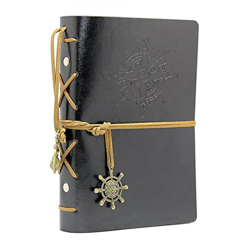 Vintage Leather Cover Journal Diary String Nautical (Black) - 2