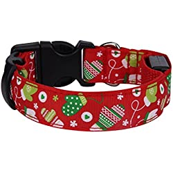 DEESEE(TM) Christmas Pet Dog Cat Collar Adjustable Xmas Design Collar Neck Strap (S, C)