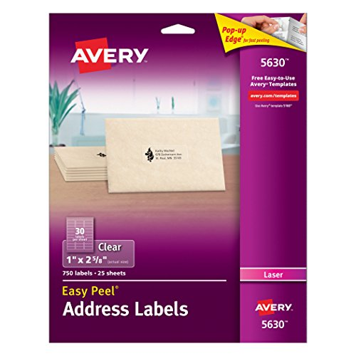 Avery  Clear Easy Peel Address Labels for Laser Printers  1' x 2-5/8', Pack of 750 (5630)