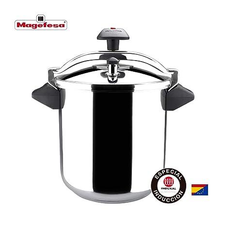 MAGEFESA INOXTAR Olla a presión rápida, acero inoxidable 18/10, apta para todo tipo de cocinas, incluido inducción 8L
