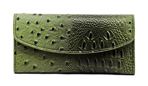 Ostrich Trifold Checkbook Wallet Womens Animal Printed Wallet (Olive Green) by Elphis