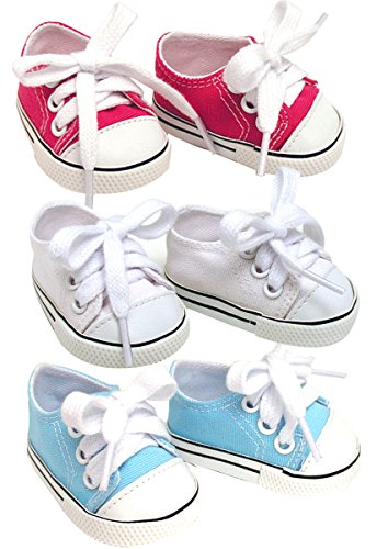 18 Inch Doll Sneakers. Sneaker Set to fit American Girl Dolls. White, Hot Pink & Blue Sneakers -