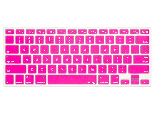 Kuzy - PINK Keyboard Cover Silicone Skin for MacBook Pro 13 15 17 (with or w/out Retina Display) iMac and MacBook Air 13 - Pink
