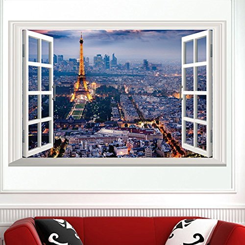Fange DIY Removable 3D Style False Castle Window Scene Art Mural Vinyl Waterproof Wall Stickers Living Room Decor Bedroom Decal Sticker Wallpaper 23.6''x15.7'' for $<!--$7.70-->