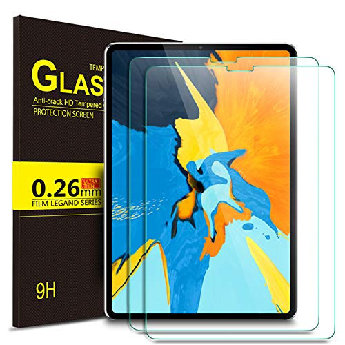 Yocktec Screen Protector for Apple iPad Pro 11, (Compatible with Face ID and Apple Pencil) Tempered Glass Protector with [9H Hardness] [Scratch Resist] Compatible with iPad Pro 11 2018 Tablet (2Pack) ()