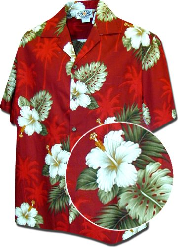 Pacific Legend Hawaiian Shirts Hibiscus Island in Red L 410-2798