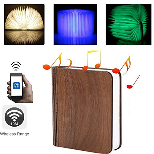 Bluetooth Speaker Folding Book LED, Book Shape Novelty 7colours LED Night Light With Wireless BT Speakers with TF Card ,MP3 Player Ideal Gift for Father and Adult, Party, Bedroom, Reading, Outdoor