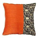 S4Sassy Decorative Cushion Cover Square Satin Orange Pillowcase Indian Décor 24 x 24