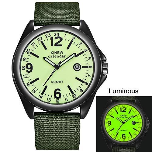 - XBKPLO Quartz Watches for Men Automatic Date Luminous Fashion Simulated Machinery Military Nylon Band (Green A)