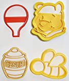 WINNIE THE POOH ADVENTURES BALLOON BEE HUNNY HONEY POT DISNEY BOOK KIDS CARTOON SET OF 4 SPECIAL OCCASION COOKIE CUTTERS BAKING TOOL MADE IN USA PR1064