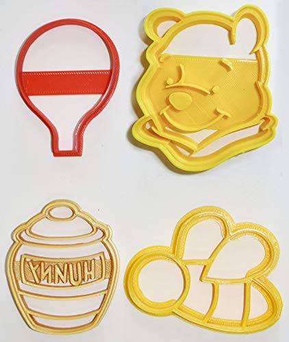 (WINNIE THE POOH ADVENTURES BALLOON BEE HUNNY HONEY POT DISNEY BOOK KIDS CARTOON SET OF 4 SPECIAL OCCASION COOKIE CUTTERS BAKING TOOL MADE IN USA PR1064)