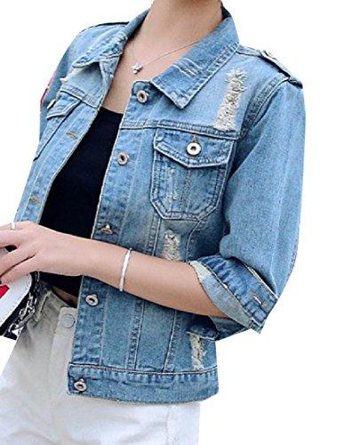 Blue Ripped Length Jackets MogogoWomen Denim 4 Oversized Trim 3 Fit Hole Denim qw6PfTY