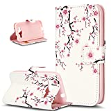 Galaxy Core Prime Case,ikasus Pattern Printing PU Leather Flip Wallet Case Bookstyle Magnetic Closure with Card Slot & Stand Protective Case Cover for Samsung Galaxy Core Prime G360,Pink Peach Blossom
