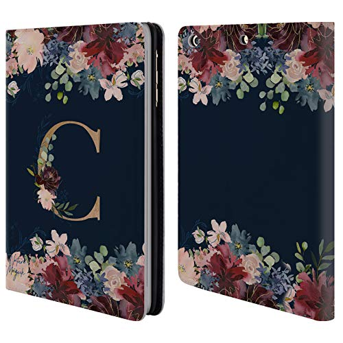 (Official Nature Magick C Floral Monogram Gold Navy Leather Book Wallet Case Cover for iPad Mini 1 / Mini 2 / Mini 3)