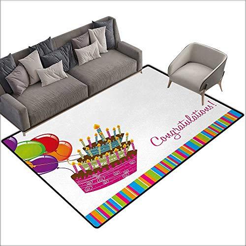 (Birthday Non-Slip Floor mat Pink Written Congratulations Graphic Cake Candles Balloons Birthday Art Print 78