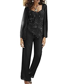 900bef1d4f8a6 Fitty Lell Women s Chiffon Beaded Mother of The Bride Pant Suits with  Jackets Plus Size Formal