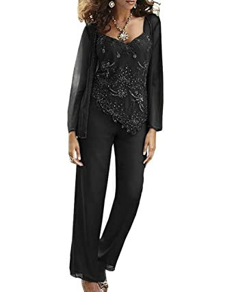 2f552bbc2e0 Fitty Lell Women s Chiffon Beaded Mother of The Bride Pant Suits with  Jackets Plus Size Mothers