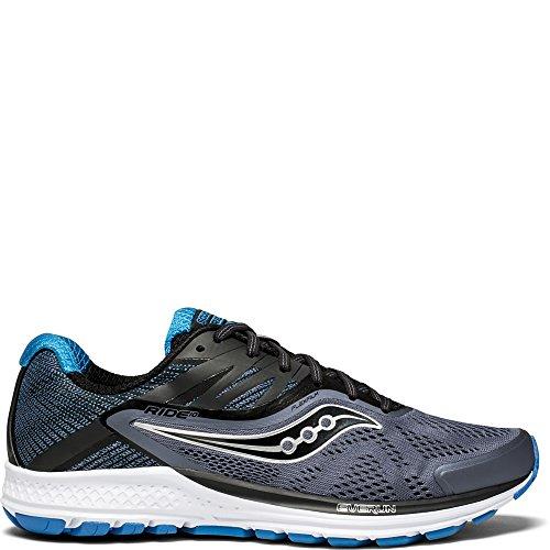 Saucony Men's Ride 10 Running Shoe, Grey/Black/Blue, 10.5 Medium US by Saucony