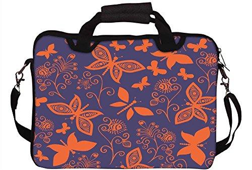 Snoogg orange Schmetterlinge in lila Muster 30,5cm 30,7cm 31,8cm Zoll Laptop Notebook Computer Schultertasche Messenger-Tasche Griff Tasche mit weichem Tragegriff abnehmbarer Schultergurt für Lapto