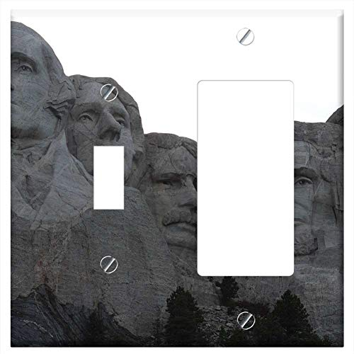 (1-Toggle 1-Rocker/GFCI Combination Wall Plate Cover - Mount Rushmore National Monument Presidential)