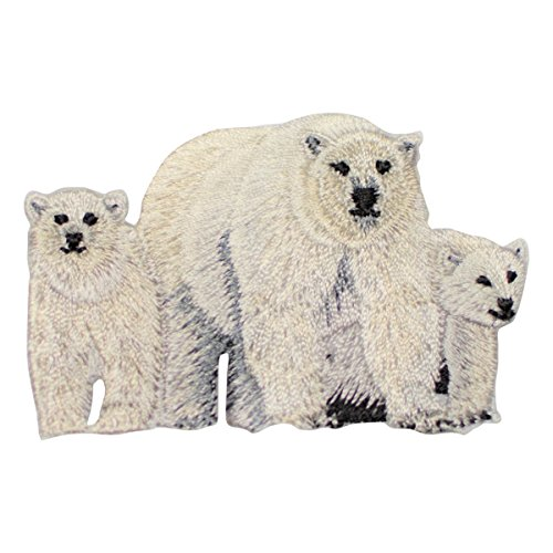 - Polar Bear Mother and Cubs Patch Applique (Iron On)