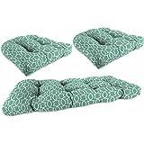 Jordan Manufacturing Outdoor Patio - Tufted 3 Piece Wicker Cushion Set (Titan Peacock)