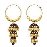 Jwellmart Indian Ethnic Bollywood Gold Polish Wedding Bali Jhumki Jhumka Fashion Earrings