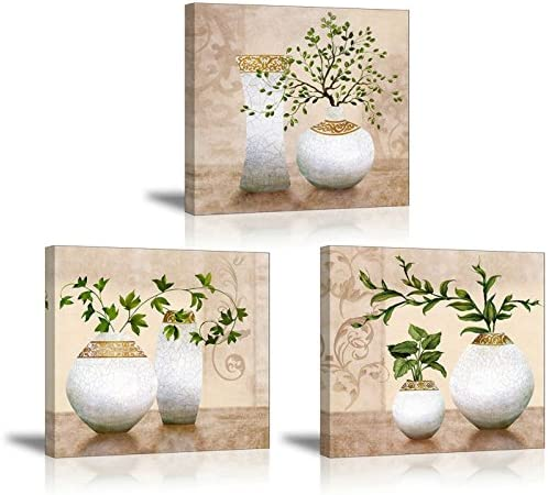 Amazon Com 3 Piece Wall Art For Bathroom Hallway Sz Hd Elegant Canvas Painting Prints Of Green Spring Plants In Vases On Beige Tan Picture Waterproof Decor 1 Thick Bracket Mounted Ready To Hang Posters