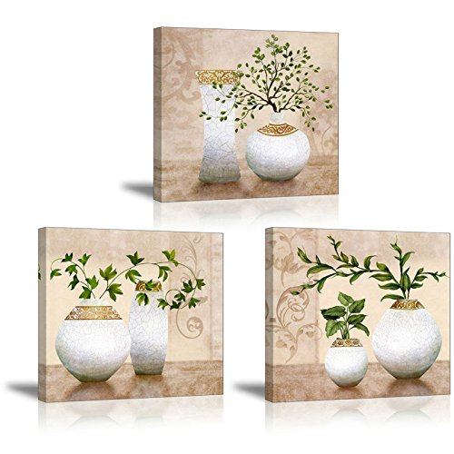 3 Piece Wall Art for Bathroom/Hallway, SZ HD Elegant Canvas Painting Prints of Green Spring Plants in Vases on Beige/Tan Picture (Waterproof Decor, 1 Thick, Bracket Mounted Ready to Hang)