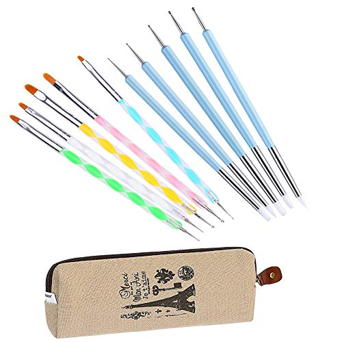 Ecjiuyi 10PCS Double-Ended Dotting Tool Painting Brushes Kit for Nail Art, Rock Painting, Embossing Pattern, Pottery Clay Craft with a Storage Case ()