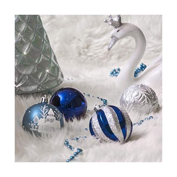 Valery Madelyn Palle di Natale 24 Pezzi 7cm Palline di Natale, Auguri Invernali Argento e Blu Infrangibili Ornamenti Palla di Natale Decorazione per la Decorazione Dell'Albero di Natale 5 spesavip