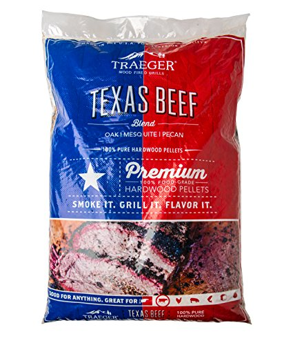 Traeger Grills PEL328 Texas Beef Blend 100% All-Natural Hardwood Pellets Grill, Smoke, Bake, Roast, Braise and BBQ, 20 lb. Bag