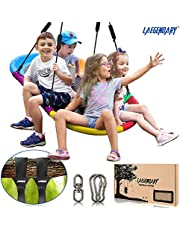 150 Centimeters Platform Tree Swing for Kids and Adults – Giant Flying Outdoor Indoor Saucer Hammock - Surf Tire Swingset Accessories Toys - 2 Tree Straps, 2 Carabiners, 1 Swivel - 160 Kilograms Yard Swings Set