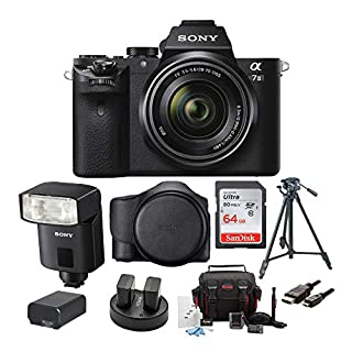 Sony Alpha a7II Mirrorless Digital Camera with 28-70mm Lens, External Flash, Cases, Tripod, Camera Bag, 64GB SD Card, Battery and Dual Charger, Lithium Ion Battery and HDMI Cable Bundle (9 items)